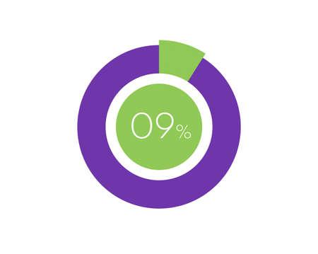 9% Percentage, 9 Percentage Circle diagram infographic Vettoriali