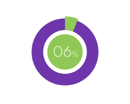 6% Percentage, 6 Percentage Circle diagram infographic Vettoriali