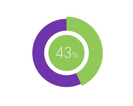 43% Percentage, 43 Percentage Circle diagram infographic Vettoriali
