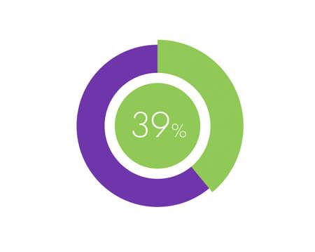 39% Percentage, 39 Percentage Circle diagram infographic Vettoriali