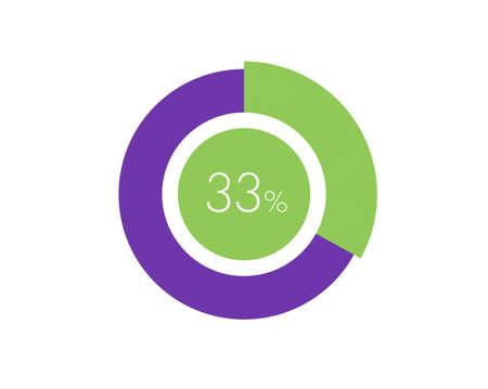 33% Percentage, 33 Percentage Circle diagram infographic Vettoriali