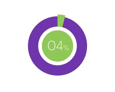 4% Percentage, 4 Percentage Circle diagram infographic Vettoriali