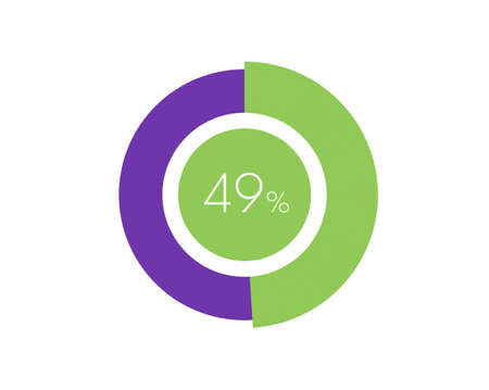 49% Percentage, 49 Percentage Circle diagram infographic Vettoriali
