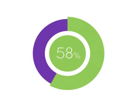 58% Percentage, 58 Percentage Circle diagram infographic Vettoriali