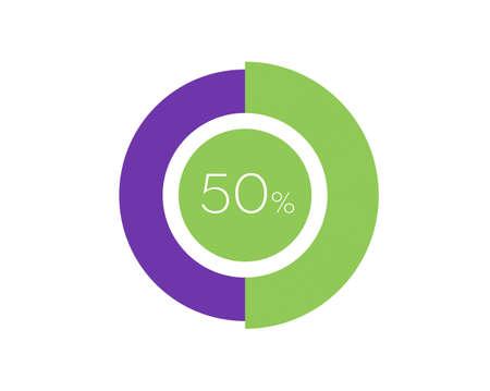 50% Percentage, 50 Percentage Circle diagram infographic