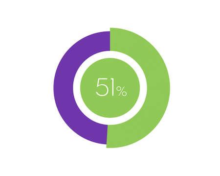 51% Percentage, 51 Percentage Circle diagram infographic Vettoriali