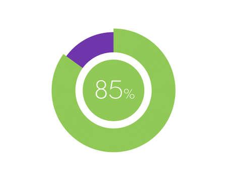 85% Percentage, 85 Percentage Circle diagram infographic Vettoriali