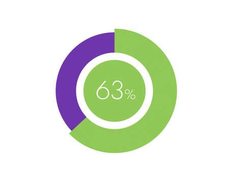 63% Percentage, 63 Percentage Circle diagram infographic Vettoriali