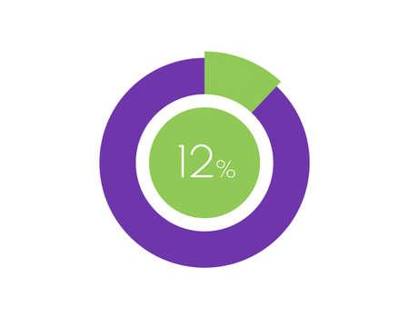 12% Percentage, 12 Percentage Circle diagram infographic Vettoriali