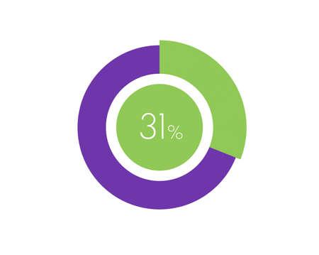 31% Percentage, 31 Percentage Circle diagram infographic Vettoriali
