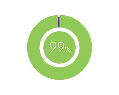 99% Percentage, 99 Percentage Circle diagram infographic Vettoriali