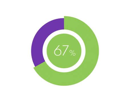 67% Percentage, 67 Percentage Circle diagram infographic Vettoriali