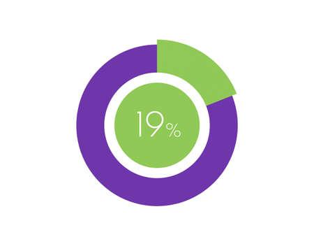 19% Percentage, 19 Percentage Circle diagram infographic Vettoriali