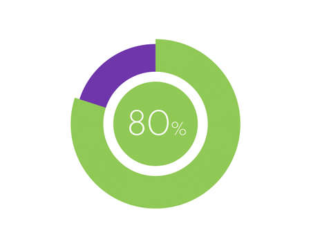 80% Percentage, 80 Percentage Circle diagram infographic Vettoriali