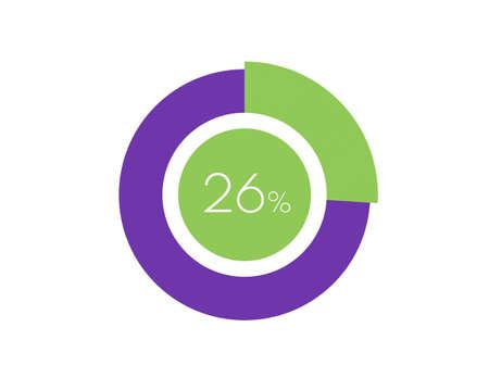 26% Percentage, 26 Percentage Circle diagram infographic Vettoriali