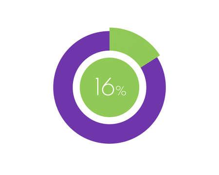 16% Percentage, 16 Percentage Circle diagram infographic Vettoriali