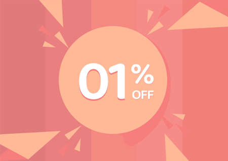 1% OFF Sale Discount Banner, Discount offer, 1% Discount Banner on pinkish background