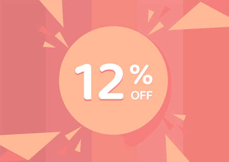 12% OFF Sale Discount Banner, Discount offer, 12% Discount Banner on pinkish background 向量圖像