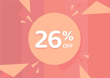 26% OFF Sale Discount Banner, Discount offer, 26% Discount Banner on pinkish background 向量圖像