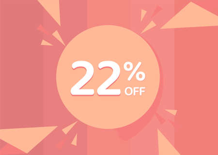 22% OFF Sale Discount Banner, Discount offer, 22% Discount Banner on pinkish background