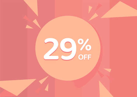 29% OFF Sale Discount Banner, Discount offer, 29% Discount Banner on pinkish background
