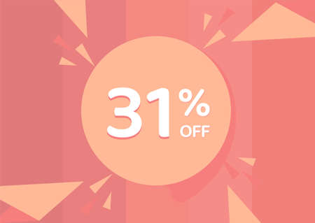 31% OFF Sale Discount Banner, Discount offer, 31% Discount Banner on pinkish background