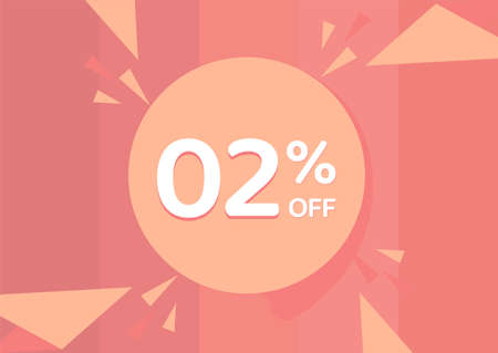 2% OFF Sale Discount Banner, Discount offer, 2% Discount Banner on pinkish background