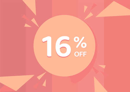 16% OFF Sale Discount Banner, Discount offer, 16% Discount Banner on pinkish background