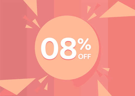 8% OFF Sale Discount Banner, Discount offer, 8% Discount Banner on pinkish background 向量圖像