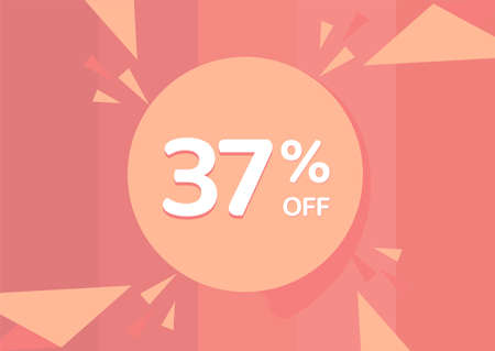 37% OFF Sale Discount Banner, Discount offer, 37% Discount Banner on pinkish background 向量圖像