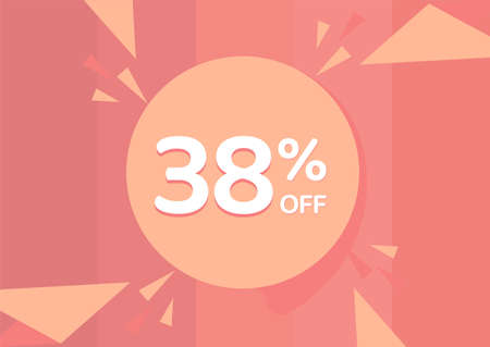 38% OFF Sale Discount Banner, Discount offer, 38% Discount Banner on pinkish background