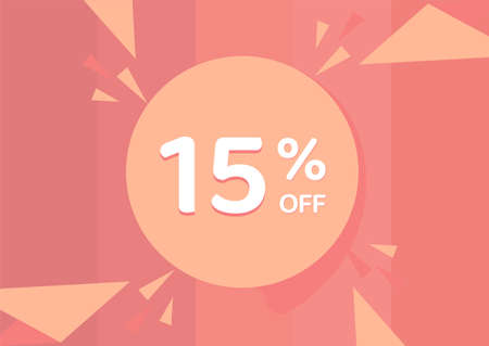 15% OFF Sale Discount Banner, Discount offer, 15% Discount Banner on pinkish background