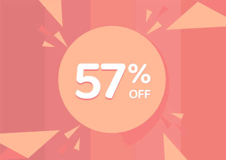 57% OFF Sale Discount Banner, Discount offer, 57% Discount Banner on pinkish background 向量圖像