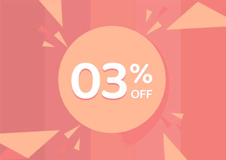 3% OFF Sale Discount Banner, Discount offer, 3% Discount Banner on pinkish background 向量圖像