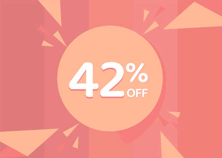 42% OFF Sale Discount Banner, Discount offer, 42% Discount Banner on pinkish background