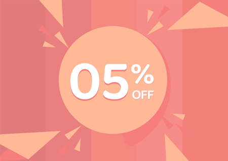 5% OFF Sale Discount Banner, Discount offer, 5% Discount Banner on pinkish background