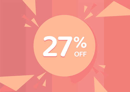 27% OFF Sale Discount Banner, Discount offer, 27% Discount Banner on pinkish background 向量圖像