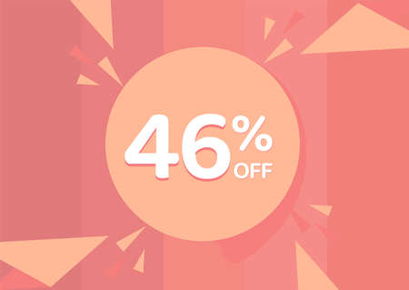 46% OFF Sale Discount Banner, Discount offer, 46% Discount Banner on pinkish background 向量圖像