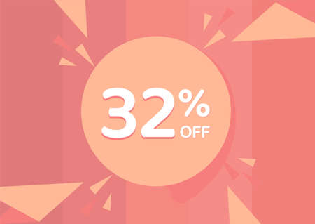 32% OFF Sale Discount Banner, Discount offer, 32% Discount Banner on pinkish background