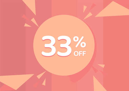 33% OFF Sale Discount Banner, Discount offer, 33% Discount Banner on pinkish background