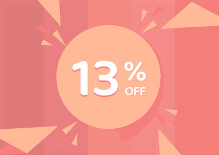 13% OFF Sale Discount Banner, Discount offer, 13% Discount Banner on pinkish background 向量圖像