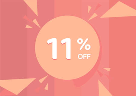11% OFF Sale Discount Banner, Discount offer, 11% Discount Banner on pinkish background