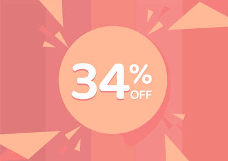 34% OFF Sale Discount Banner, Discount offer, 34% Discount Banner on pinkish background 向量圖像