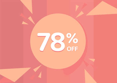 78% OFF Sale Discount Banner, Discount offer, 78% Discount Banner on pinkish background 向量圖像
