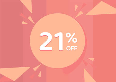 21% OFF Sale Discount Banner, Discount offer, 21% Discount Banner on pinkish background