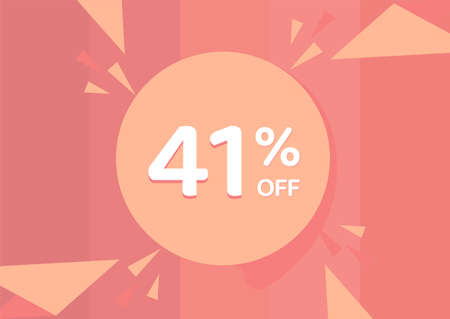 41% OFF Sale Discount Banner, Discount offer, 41% Discount Banner on pinkish background 向量圖像