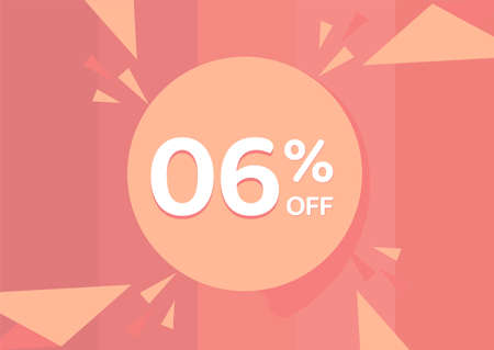 6% OFF Sale Discount Banner, Discount offer, 6% Discount Banner on pinkish background