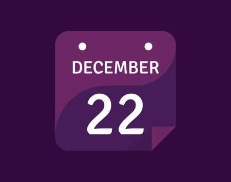 22 December, December 22 icon Single Day Calendar Vector illustration