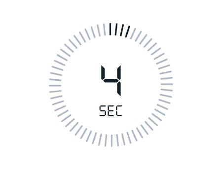 4 second timers Clocks, Timer 4 sec icon Vettoriali
