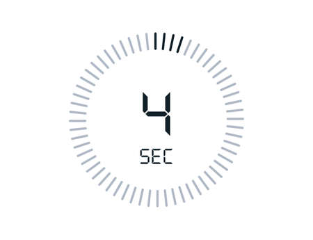 4 second timers Clocks, Timer 4 sec icon 向量圖像